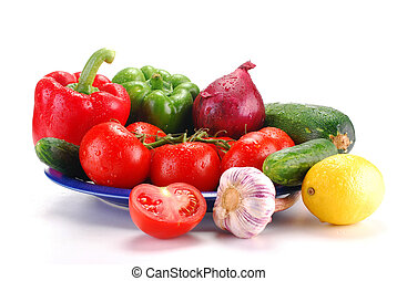 Raw vegetables on white - Composition with fresh vegetables...