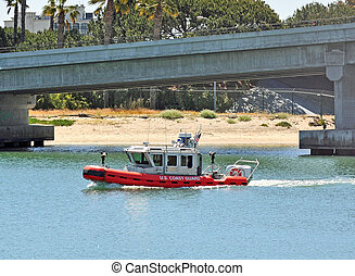 A USCG Rigged Hull Inflatable Boat - A US Coast Guard RHIB...