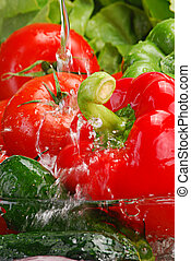 Vegetables with splashing water - Fresh vegetables with...