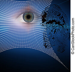 Identity and security - Binary web and fingerprint with...