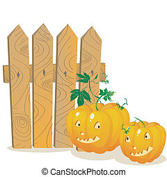 Pumpkins - Two smiling pumpkins over a wooden fence Stylized...