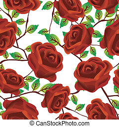 Roses over white, pattern - Seamless background design with...