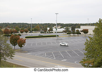empty parking lot - large, mostly empty parking lot