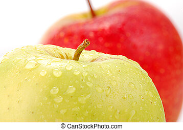 Two apples on white background