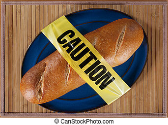 Bread with Caution Tape - Loaf of French Bread draped in...