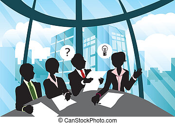 Business meeting - A vector illustration of a group business...