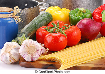 Raw vegetables and spaghetti - Composition with raw...