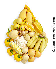 yellow healthy food - yellow fruits and vegetables in water...