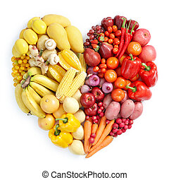 yellow and red healthy food - heart shape by various...