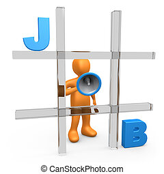 Job Tic Tac Toe - Metaphor of a person forming the word JOB...