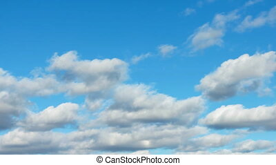 White clouds blue sky background - Motion background - white...