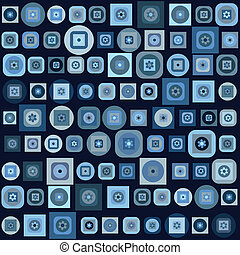 Blue background with geometrical shapes and flowers
