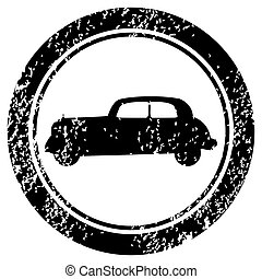 Grunge stamp with old car