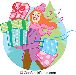 Gift of Giving - Illustration of a woman shopping/delivering...