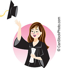 Congratulations, Graduate - Illustration of a young woman...
