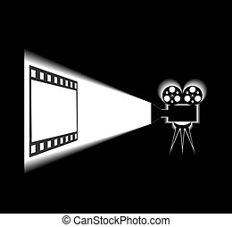 Cinema. - Movie projector and screen are shown in the...