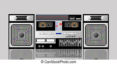 Old cassette player. - Old cassette player is shown in the...