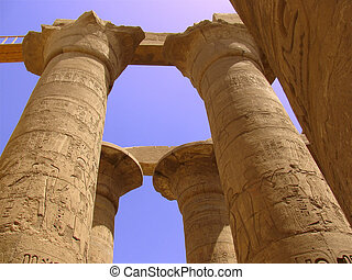 Egyptian temple - Egyptian columns with hieroglyphs at...