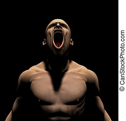 Rage - Rendered image of an angry man screaming on a black...