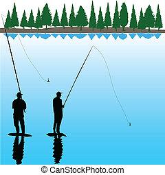 dos, río, pescador