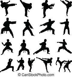 Various karate poses silhouettes