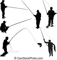 Various fishermen silhouette