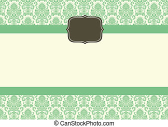 Vector Small Ornate Frame and Damask Background
