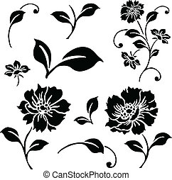 Vector Daisy and Ivy Icon Set - Set of vector floral...
