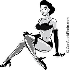 Burlesque dancer in underwear illustration. Perfect for your...