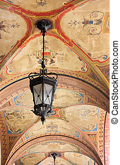 frescoed arcade - ceiling of the arched portico decorated...