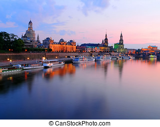 Sundown On Dresden, Germany, Europe - View of the waterfront...