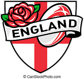 Rugby England rose flag shield - Illustration of a red...
