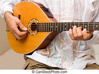 irish bouzouki player - musician playing irish bouzouki -...
