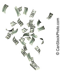 Dollars - Flying dollars. Objects isolated over white