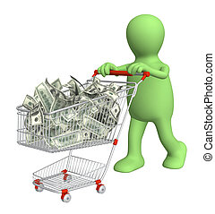 Puppet with shopping cart and dollars