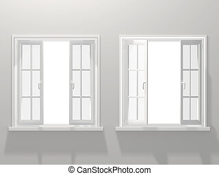 Windows - Two opened windows. 3d render