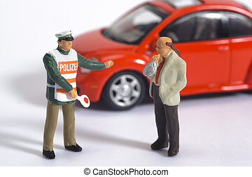 car driver while alcohol test and police