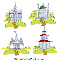 Places of Worship - illustration of places of worship on...