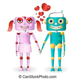 Loving Robots - illustration of male and female robots...