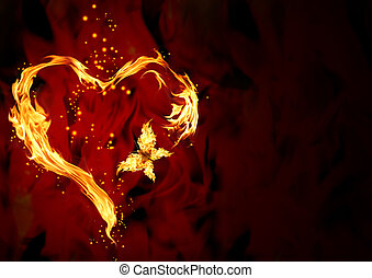 Burning heart - Bright flame in the form of heart