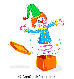 Clown coming out of Box - illustration of Clown coming out...