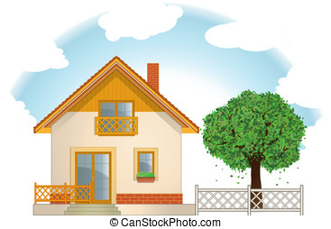 House and Tree. Vector illustration.