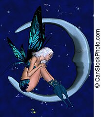Silver-blue Moon Fairy with stars 2