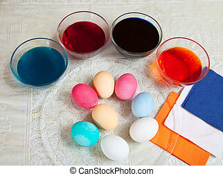 coloring eggs for Easter