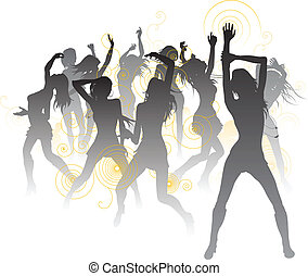 Beautiful dancers background - Background illustration with...