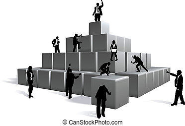 Business blocks - Conceptual piece. Business people building...