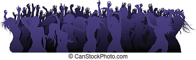 Dance floor illustration - A crowded group of people dancing...