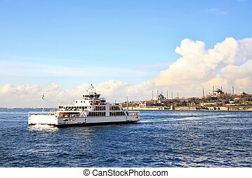 Ferryboat on front of Istanbul