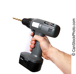 hand using a drill - A hand using a gray drill isolated on...