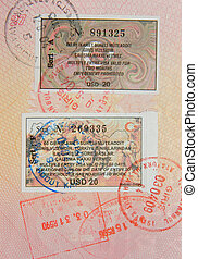 passport with turkish visa and stamps